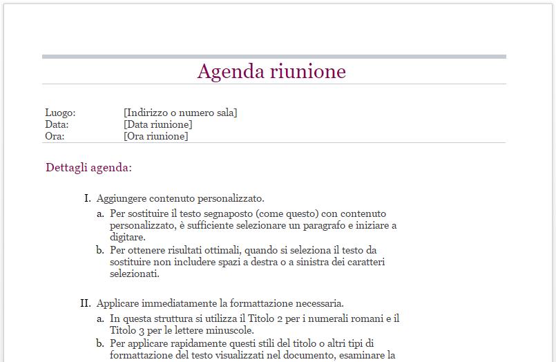 Agenda riunione classica su Word