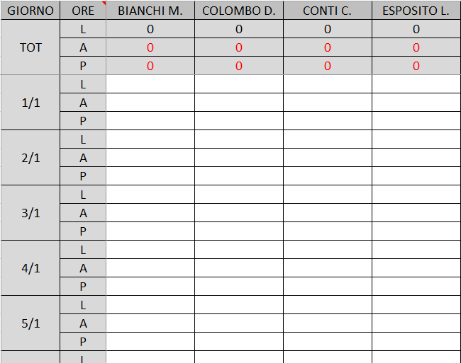 Registro Presenze Excel
