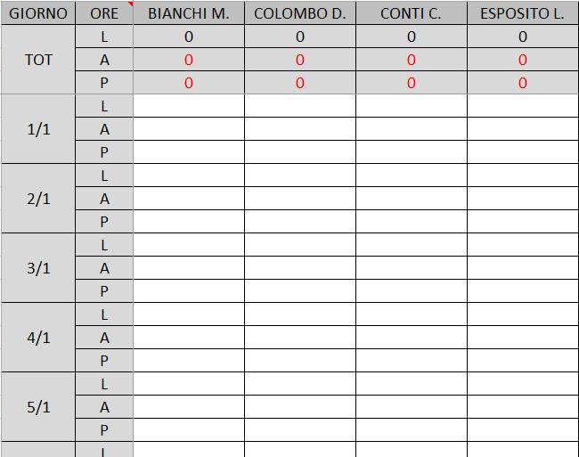 Modello di registro presenze excel modello pmonline for Registro casa schemi