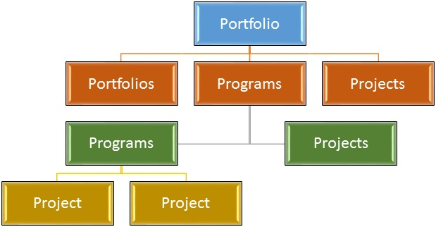 Portfolio Management, Program Management e Project Management (rappresentazione grafica)