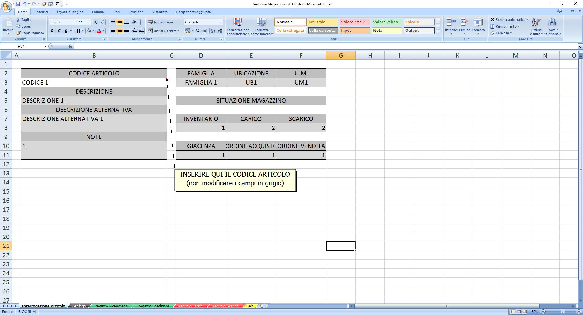 Gestione Magazzino Excel Pmonline