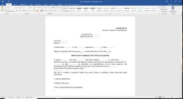 Scheda DL01 Processo verbale di constatazione