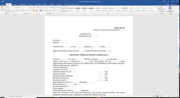 Scheda DL04 Processo verbale di prova idraulica