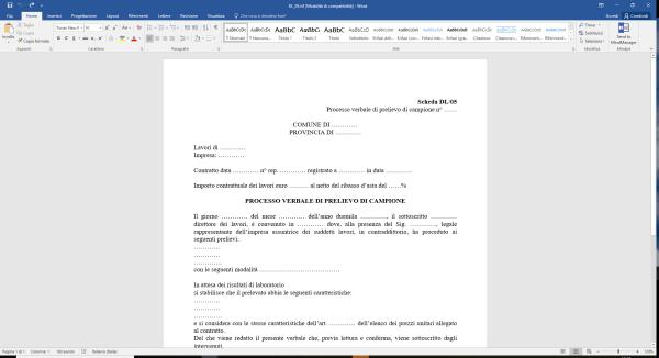 Scheda DL05 Processo verbale di prelievo di campione