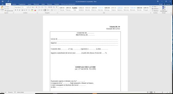 Scheda DL20 Giornale dei Lavori Word