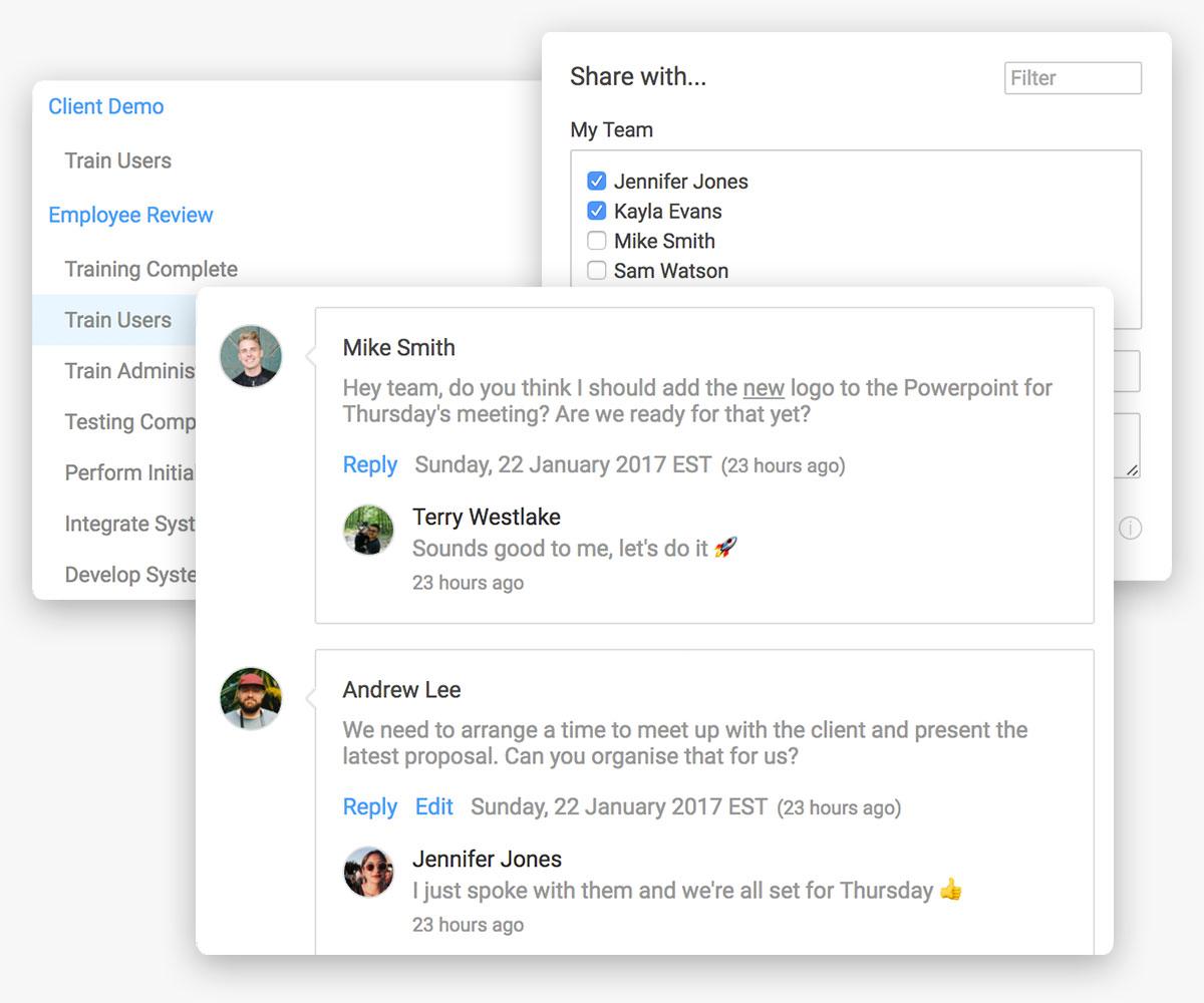 agregó tareas y chat de equipo en la herramienta de gestión de proyectos
