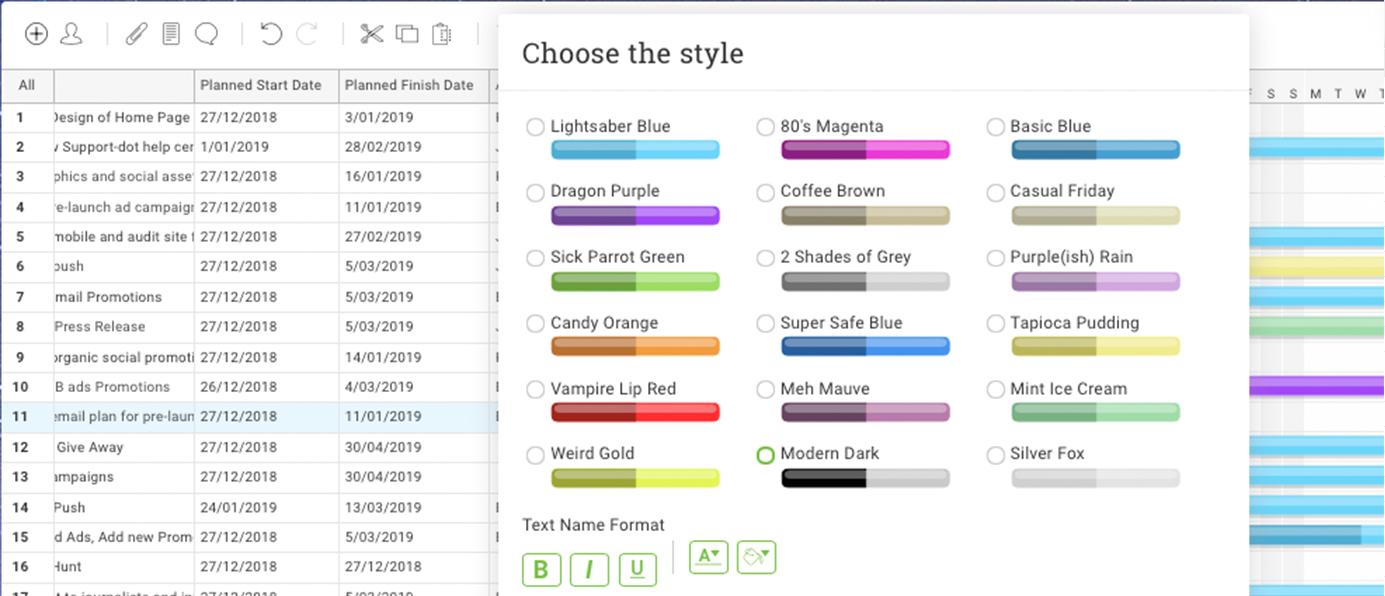 colores personalizados para el diagrama de Gantt