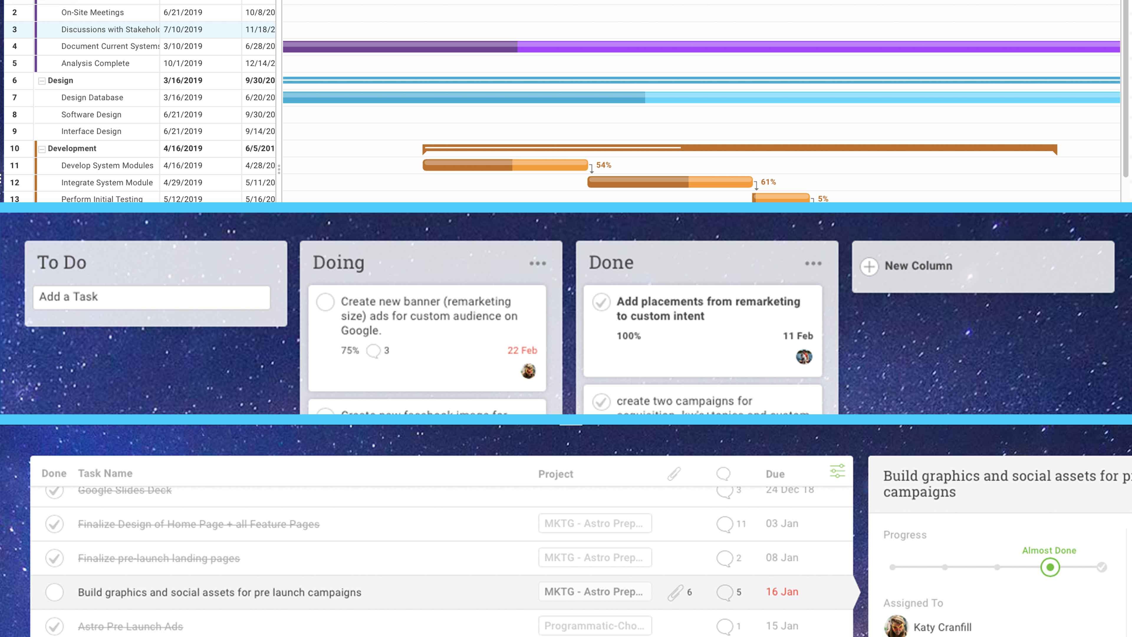diagrama de Gantt, tabla kanban y listas de tareas en software kanban