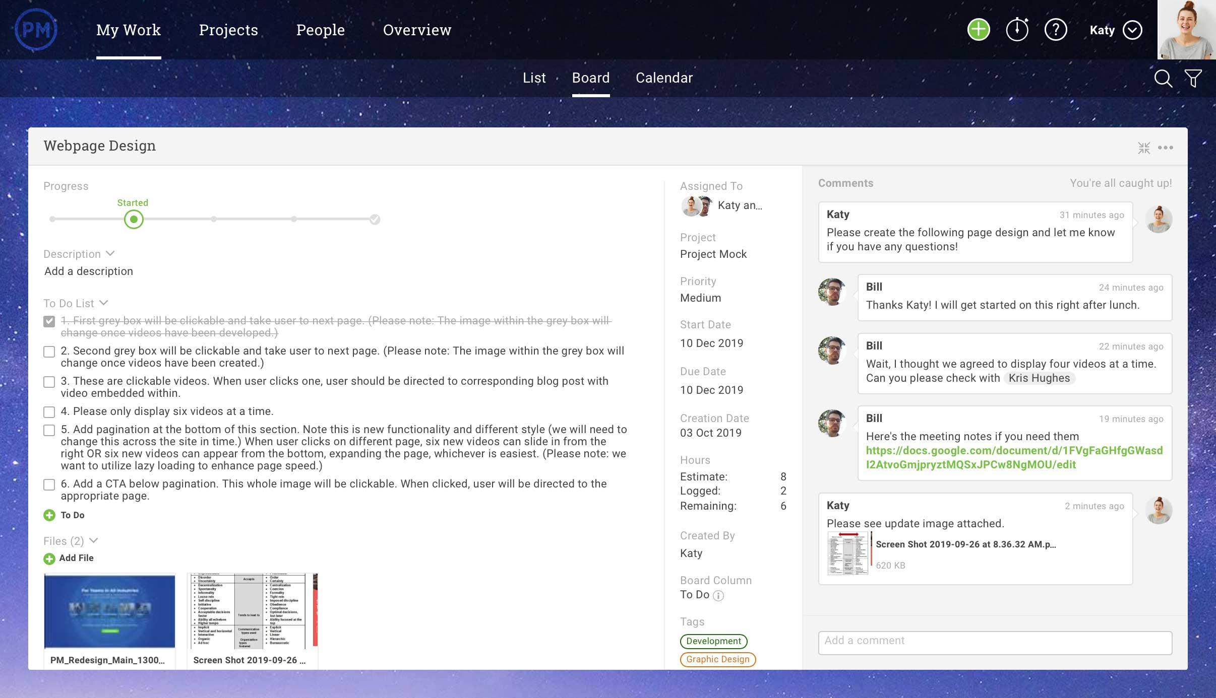 tarea ampliada con colaboración en ProjectManager.com