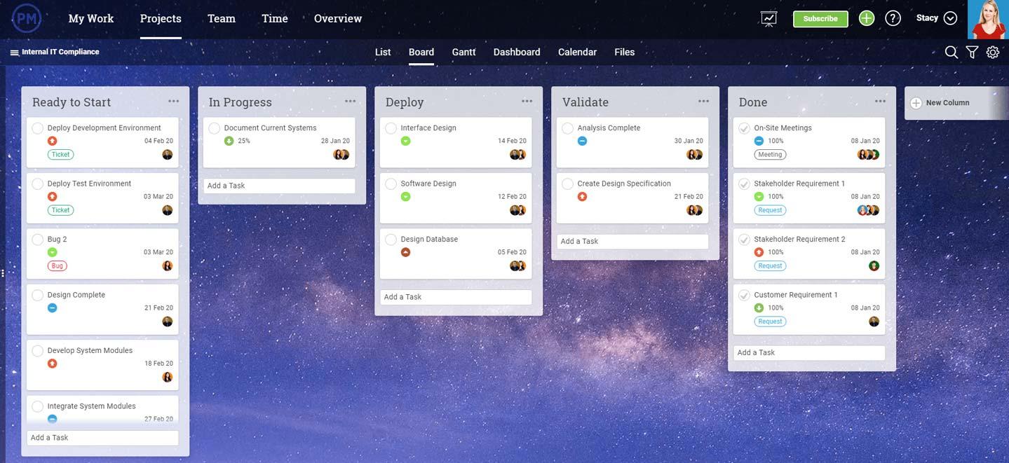 captura de pantalla del tablero kanban en ProjectManager.com