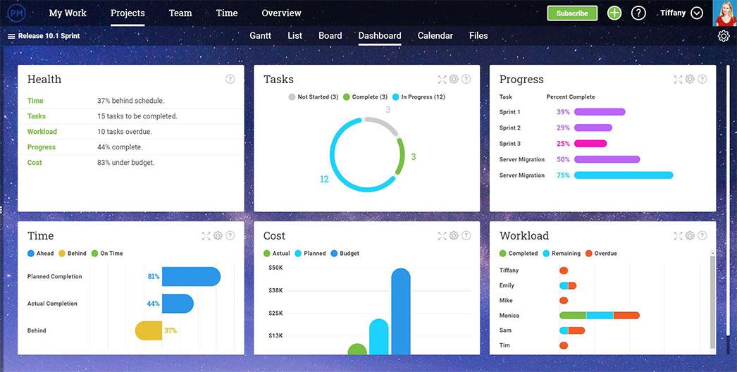 El panel de ProjectManager.com se actualiza automáticamente, mostrando los datos del proyecto en tiempo real para mejores decisiones