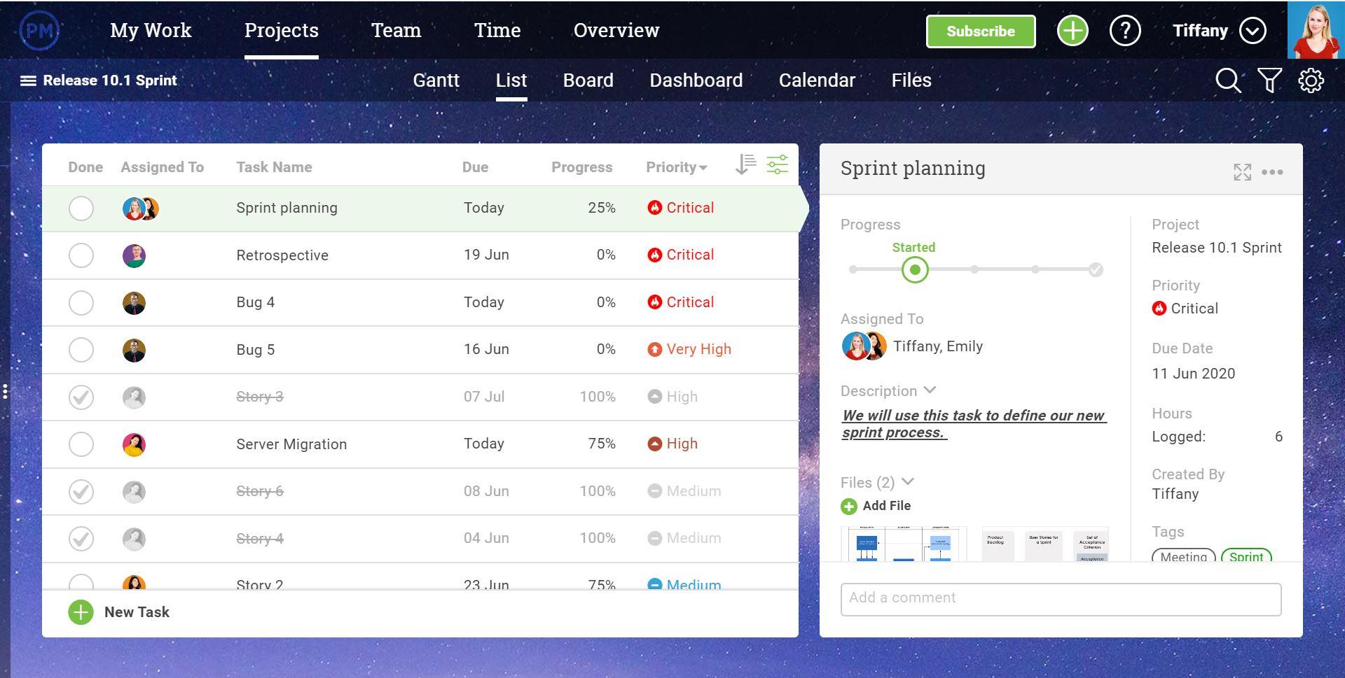Una captura de pantalla de la capacidad de ProjectManager.com para que los equipos comentar sobre equipos