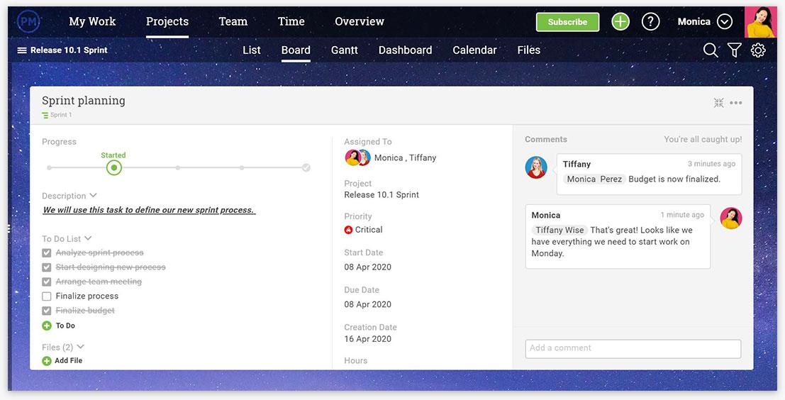 Una captura de pantalla de los detalles de la tarea en ProjectManager.com