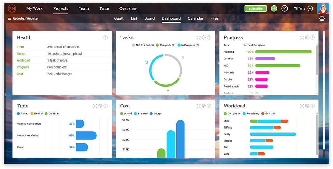 ProjectManager.com es un creador de diagramas de Gantt, pero también una solución de software total. En la imagen se muestra la función de panel de control de nuestro software.