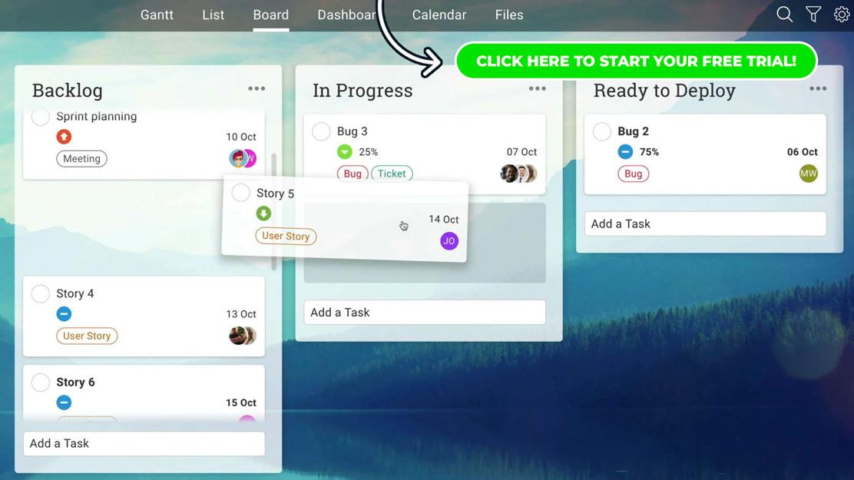 Una captura de pantalla de una placa kanban en ProjectManager.com, una alternativa a Microsoft Planner