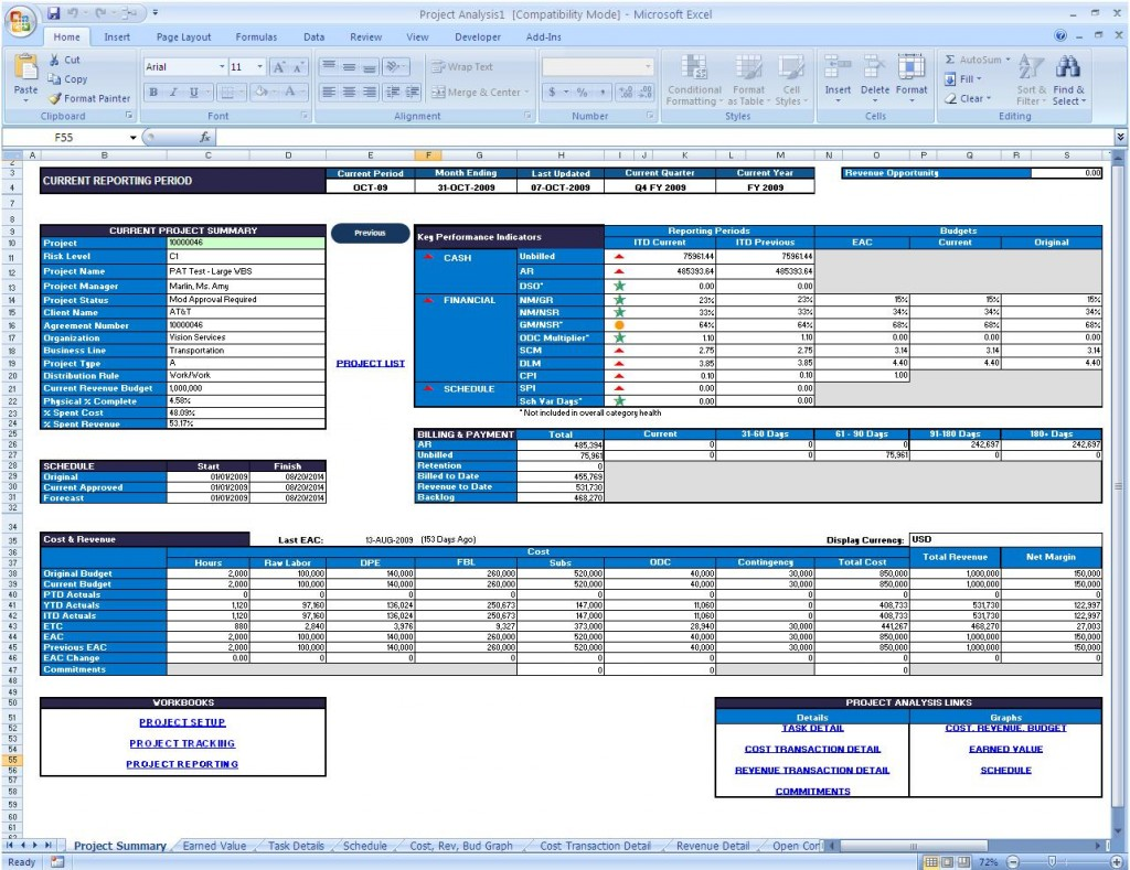 Project Status Reporting Via Microsoft Excel