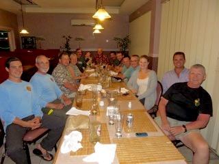 bentprop crew enjoying dinner, palau