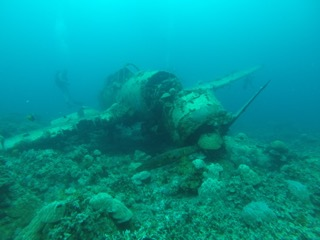 front view of the Jake, Japanese war plane in palau
