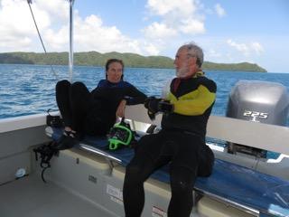divers taking quite time after scuba dive palau with bentprop