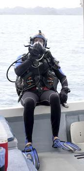 Anderson suited up and ready to dive with bentprop in palau for 60 minutes.