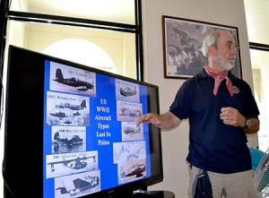 bentprop giving slide presentation in palau on finding missing aircraft