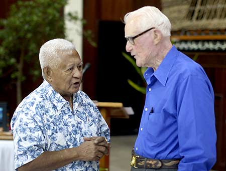 Paramount Chief Reklai with R.V. Burgin. The Reklai is a retired Sargent Major from the Marine Corps..