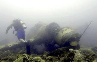 ghostly photo of the airplane wreck the jake in palau with team bentporp.org
