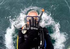 diving in the water