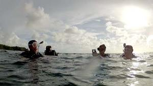 happy divers after finding tbm avenger in palau 2014