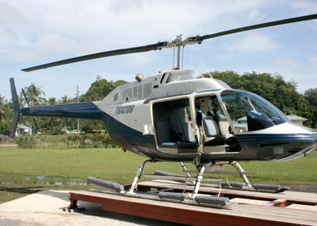 helicopter on stand in palau