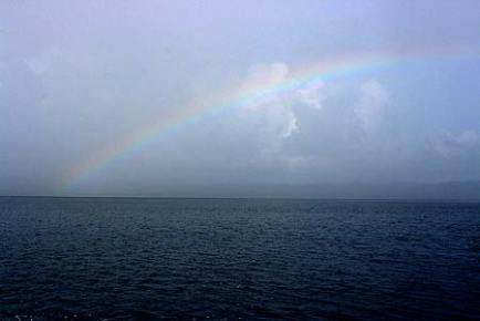 rainbow over palau waters