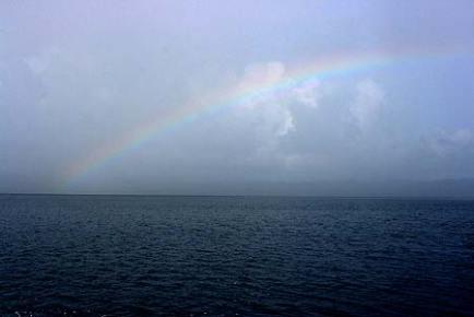 rainbow over palau waters