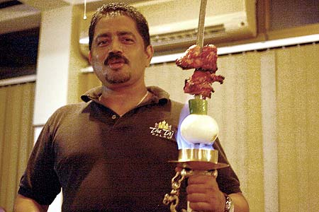 the Taj restaurant flaming sword of meat palau