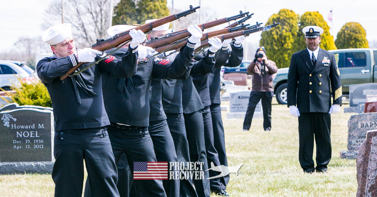 21 gun salute for Ora H. Sharninghouse, Jr. found by Project Recover and BentProp. Learn to research your familys mia. Photo by Harry Parker Photography