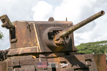 Japanese Take Turret - Hells Point - Honiara EOD - Nose gunners view Japanese WWII bomber - Vilu War Museum - Honiara - while looking to find Solomon Islands MIAs - Project Recover and BentProp Project are committed to bringing the MIA home. Photos by Harry Parker Photography.com