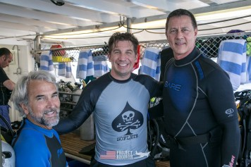 Teammates Charlie Brown, Derek Abbey, and Jeff Lynett Scuba diving MIA crash sites aboard the Taka Live a Board scuba diving ship - Project Recover and BentProp Project are committed to bringing the MIA home. Photos by Harry Parker Photography.com