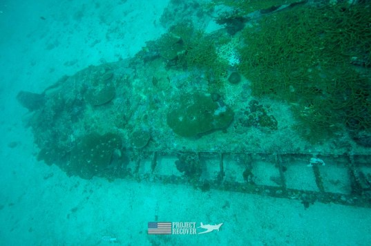 Top view of an underwater WWII B24 aircraft wreck during Solomons MIA Search - Project Recover and BentProp Project are committed to bringing the MIA home. Photo byEwan Stevenson WWW.ARCHAEHISTORIA.ORG