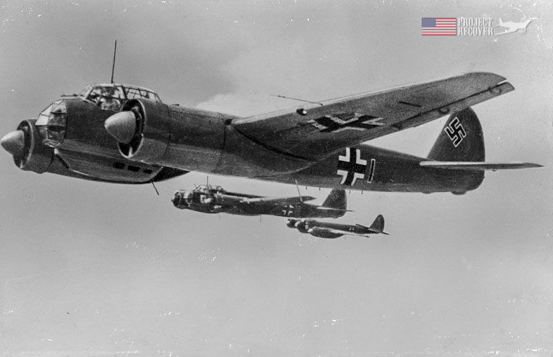 a German Junkers Ju 88 aircraft flying in formation during WWII - Project Recover is committed to bringing the MIA's home.
