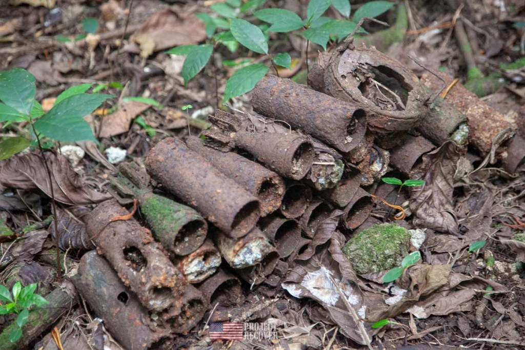 WWII shells found on Peleliu. It is illegal to remove WWII artifacts.