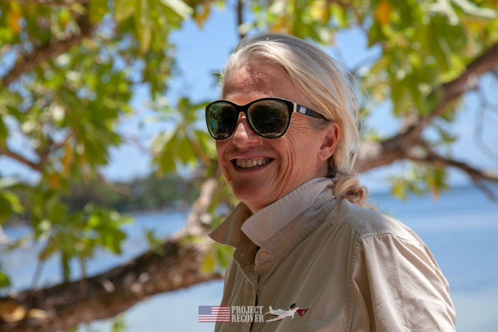 Cassandra McKeown, Cleared Ground Demining director, on Orange Beach, Peleliu