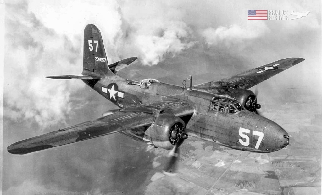 a Douglas A-20G Havoc in flight during WWII - Project Recover is committed to bringing the MIA's home.
