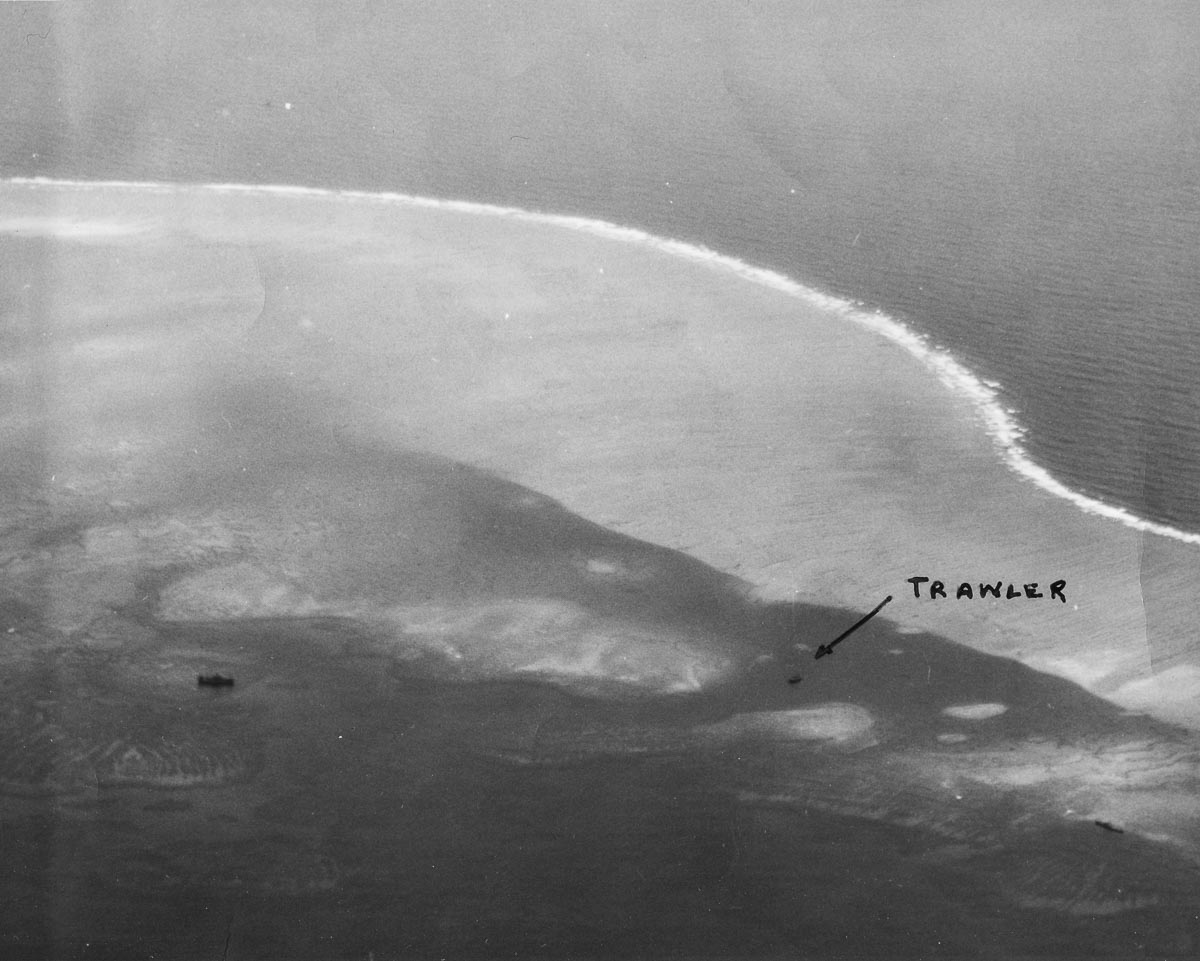 WWII pre-strike photo of Japanese trawler