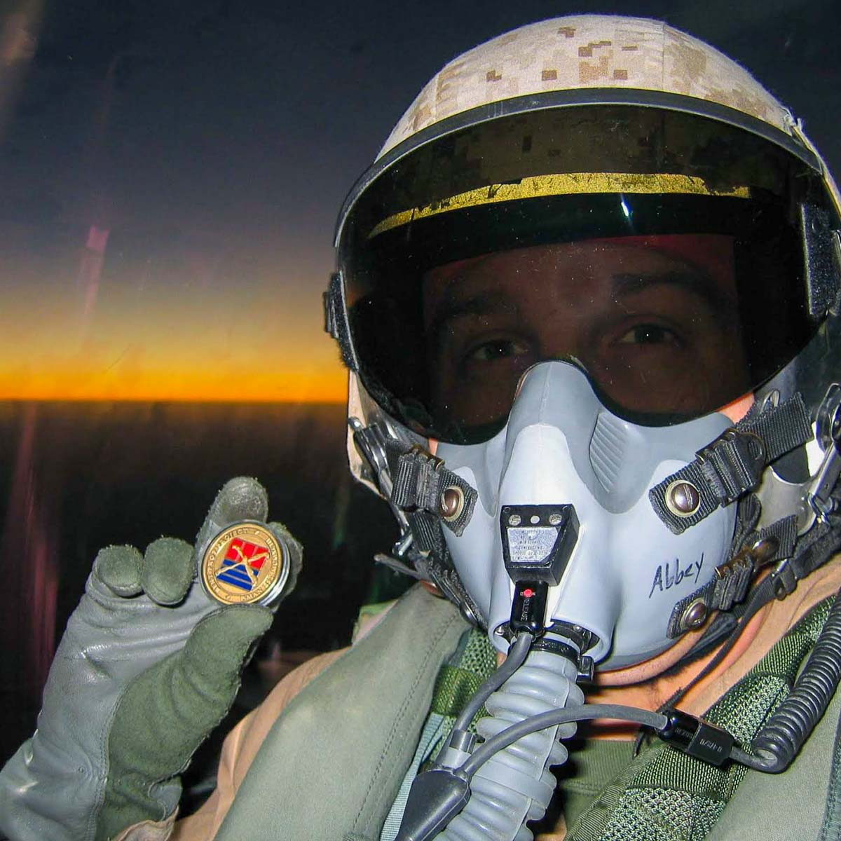 Derek Abbey, Ph.D., flying in an F-18