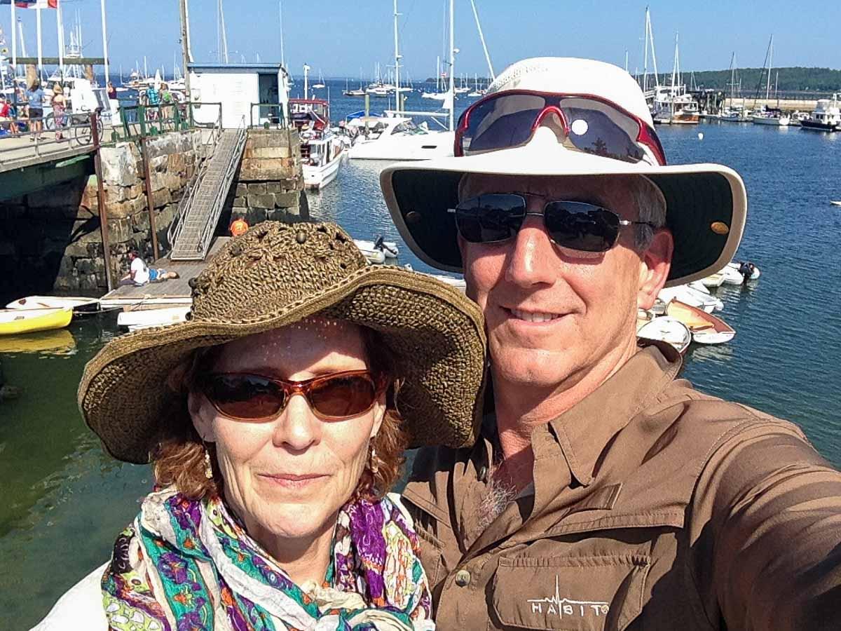 Photo of Flip and Rebecca Colmer at a marina