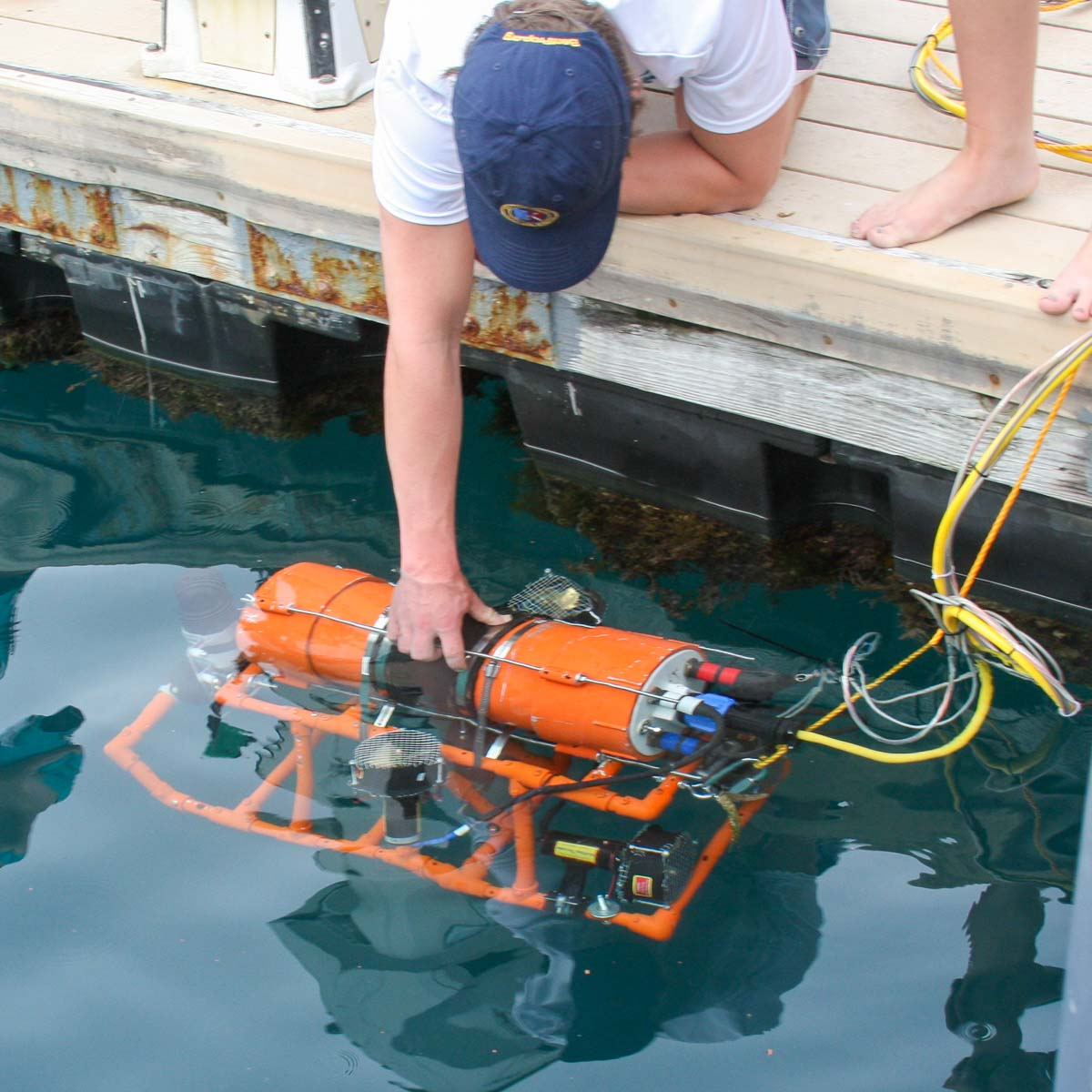 lowering an underwater vehicle into the water
