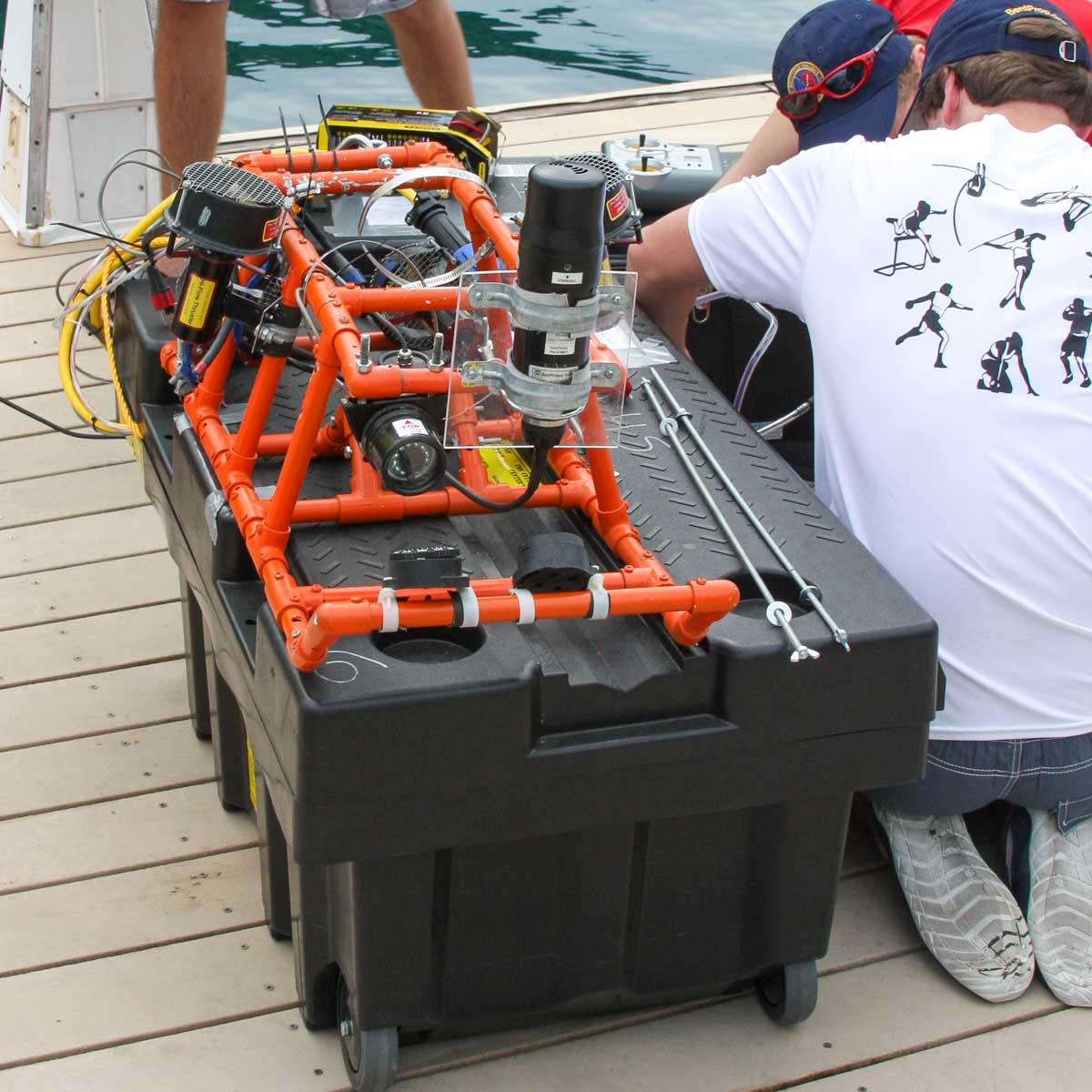 underwater ROV being assembled on boat dock in Palau