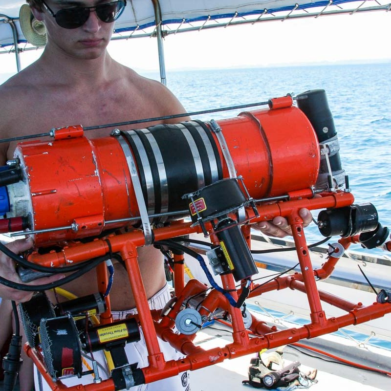 A red underwater autonomous vehicle built by Stockbridge high school students