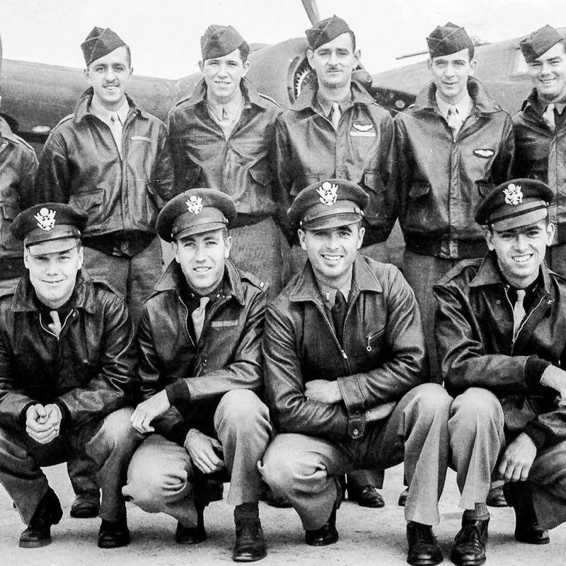Group Photo Tennyson Crew - Heaven Can Wait - B24 Bomber WWII