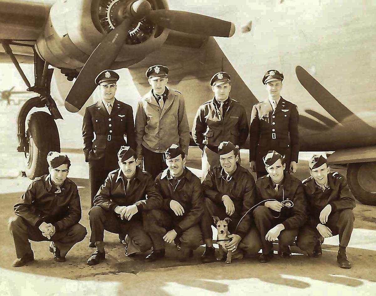 Crew of B-24 - Lt. Gage is top row, 3rd from left