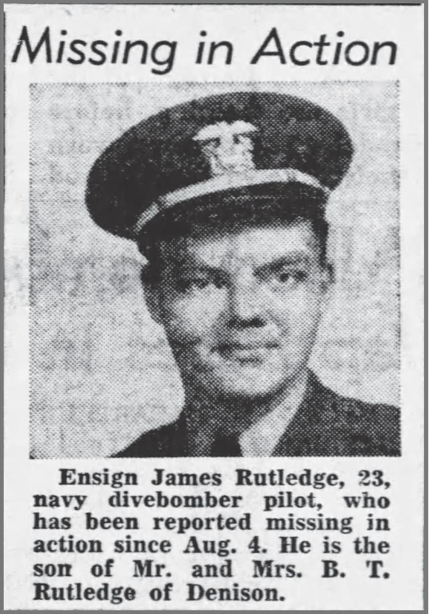 Ens. James A. Rutledge obituary